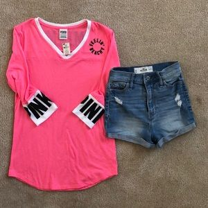 PINK miami quarter sleeve & Highwaisted shorts